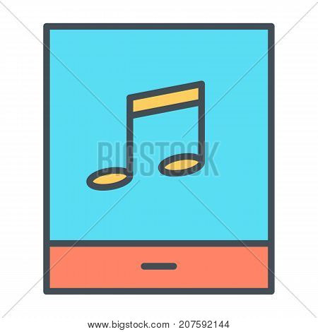 Tablet with music note thin line icon. 96x96 for Web Graphics and Apps.  Simple Minimal Pictogram. Vector