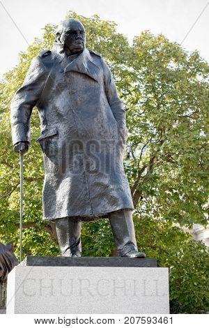 London 28th September 2017:-Statue of former Prime Minister Sir Winston Churchill in Parliment Square