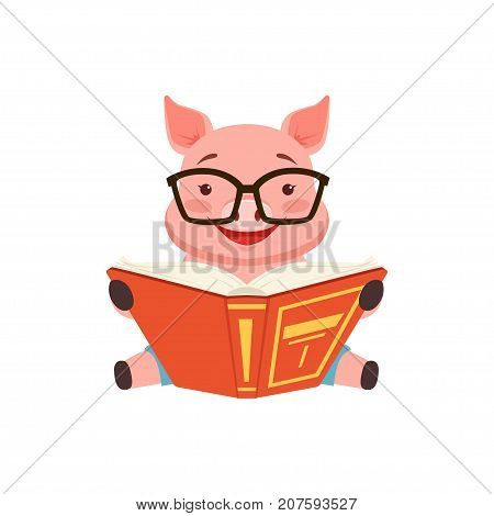Cute smart pig sitting on the floor anf reading book, funny cartoon animal vector Illustration isolated on a white background