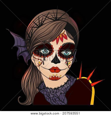 Portrait of a young beautiful girl in Halloween or Day of the Dead make up on black background.  Stock line vector illustration.