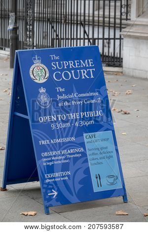 London 28th September 2017:-Signs outside The Supreme Court of the United Kingdom and the Judicial Committe of the Privy Council. Located at Middlesex Guildhall
