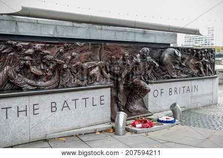 London 28th September 2017:-Memorial to the Battle of Britain pilots from Fighter Command of World War 2