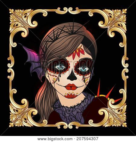Portrait of a young beautiful girl in Halloween or Day of the Dead make up on black background in gold decorative frame.  Stock line vector illustration.