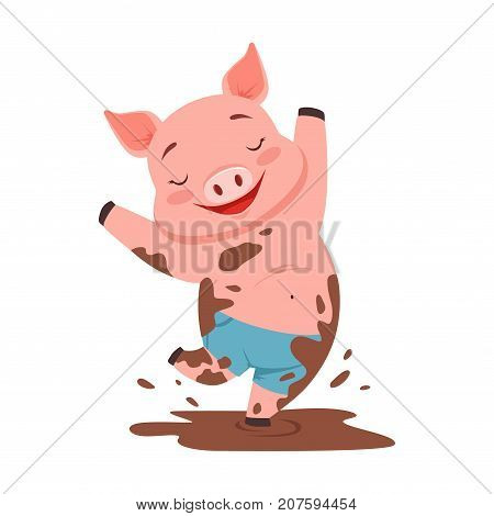 Cute happy pig jumping in a dirty pool, funny cartoon animal vector Illustration isolated on a white background