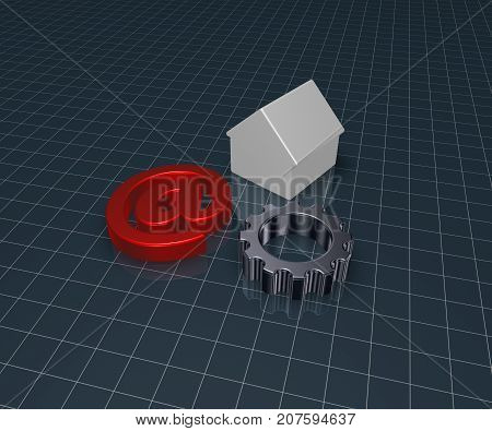 gear wheel house model and email alias - 3d illustration