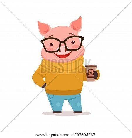 Cute happy pig dressed up in sweater and jeans standing with coffee cup, funny cartoon animal dressed in human clothes vector Illustration isolated on a white background
