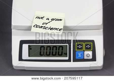 conscience the inscription on paper the sticker on the electronic scales