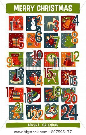 vector Cartoon Christmas Advent Calendar, white background