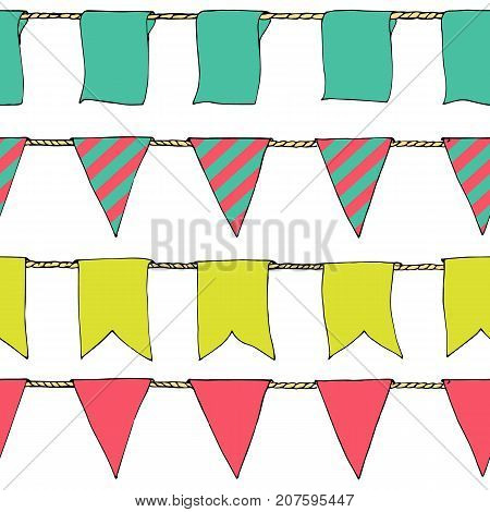 Hand Drawn Colorful Doodle Bunting Banners Horizontal Seamless Pattern. Doodle Banner Seamless Patte