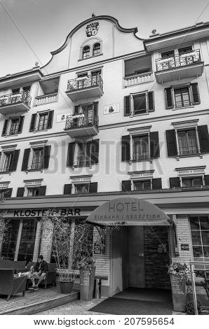 Interlaken Switzerland - May 26 2016: Interlaken Hotel where lived such as the English poet Lord Byron and German composer Felix Mendelssohn in Interlaken Switzerland. Black and white photography.
