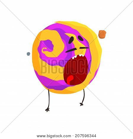 Cute humanized Venus planet character, sphere with funny face cartoon vector Illustration isolated on a white background