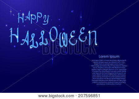 Happy Halloween lettering holiday calligraphy with luminescence stars for banner poster greeting card party invitation of vector illustration