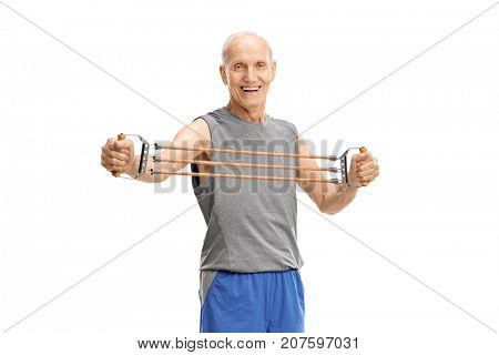 Senior exercising with a resistance band isolated on white background