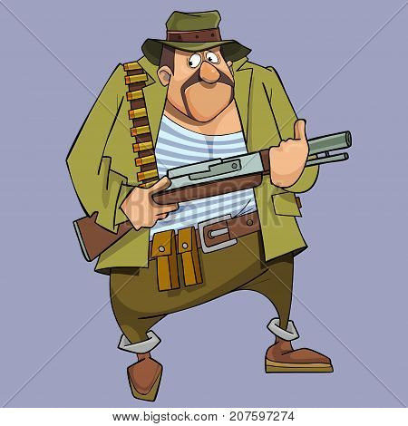 cartoon frightened man in hunter outfit with gun
