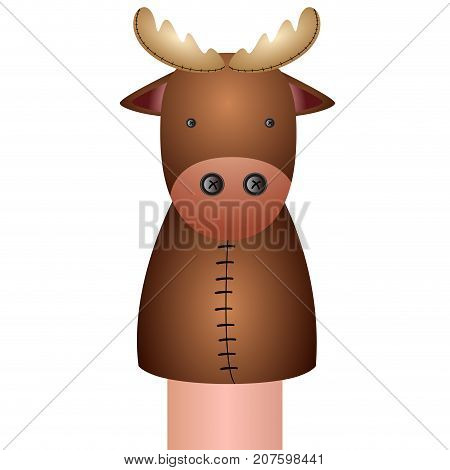Isolated Moose Puppet