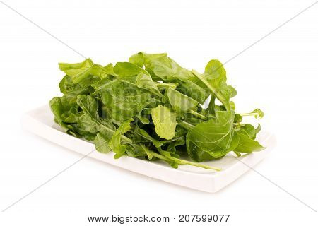 Close up studio shot of green fresh rucola leaves isolated on white background. Rocket salad or arugula