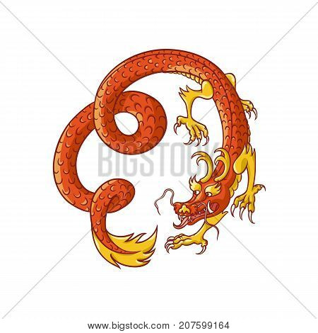 Flying red and gold Chinese, Japanese dragon, hand drawn vector illustration isolated on white background. Traditional Japanese, Chinese, Asian red and gold dragon flying in spiral