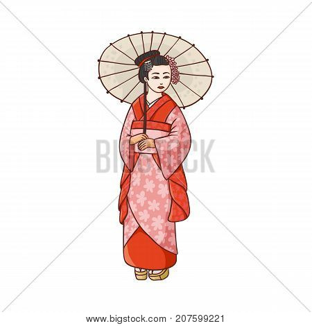 Full length portrait of beautiful geisha in Japanese kimono with paper umbrella, cartoon vector illustration on white background. Beautiful Japanese, Asian geisha, woman in kimono with umbrella