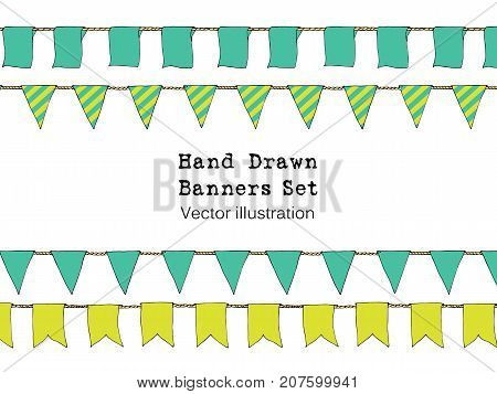 Colorful Hand Drawn Doodle Bunting Banners Set For Decoration. Doodle Banner Set, Bunting Flags, Bor