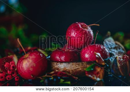 Red Miniature Apples Close-up In An Autumn Still Life With Fallen Leaves. Dark Food Photography With