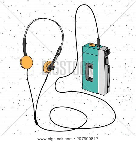 Hand drawn doodle retro cassette audio player with headphones. Old school  Music decorative element isolated on white background in cartoon style. Cool sketchy portable music player. Design for print. Pattern. Vector illustration.
