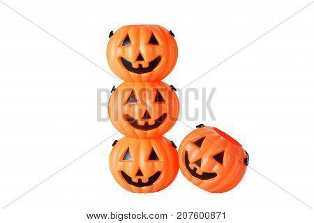 Light plastic Halloween Pumpkin buckets isolated on white background