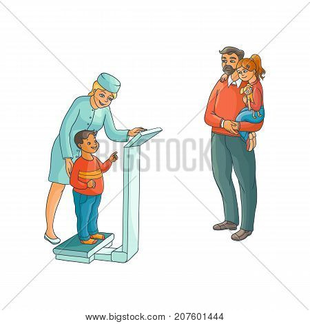 vector flat Woman pediatrician and teen kids scenes set. Female doctor measuring the weight of boy child, father holding teen girl in hands. Isolated illustration on a white background