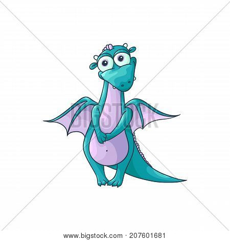 vector flat cartoon funny shy female blue dragon with red horns and wings sitting. Isolated illustration on a white background. Fairy mysterious cute creature character for design
