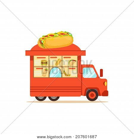 Flat street food van. Van outdoor cafe or truck with sausage. Takeaway restaurant. Urban kiosk sell fast food, junk food, hamburger, sandwich, gyros, hot dog. Vector illustration isolated on white.