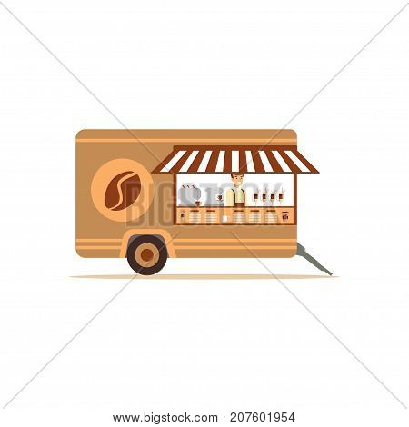 Flat street food cart with coffee machine. Van outdoor cafe coffee to go. Takeaway restaurant. Urban kiosk. Smiling man seller, merchant, shopkeeper, vendor. Vector illustration isolated on white.
