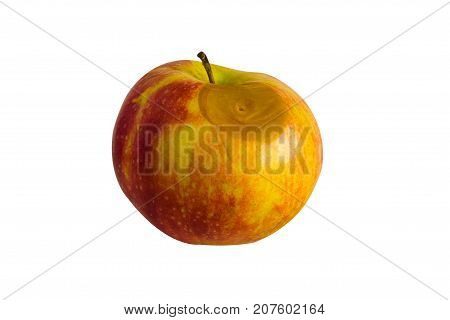 Spoiled food. Rotting apple on a white background.