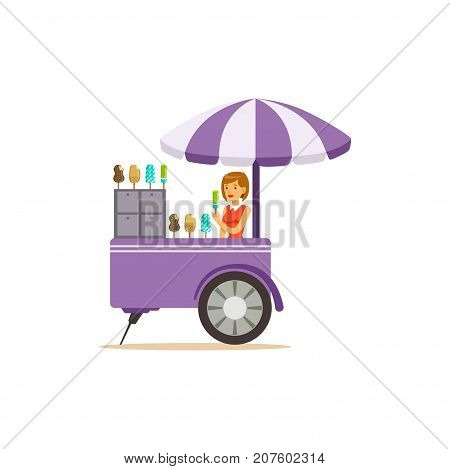 Detailed creative flat street food cart with sun umbrella. Ice cream outdoor cafe. Takeaway restaurant. Urban kiosk. Girl seller, merchant, shopkeeper, vendor. Vector illustration isolated on white.