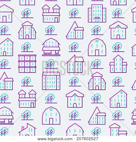 Real estate seamless pattern with thin line houses and trees. Modern vector illustration for background of banner, web page, print media.