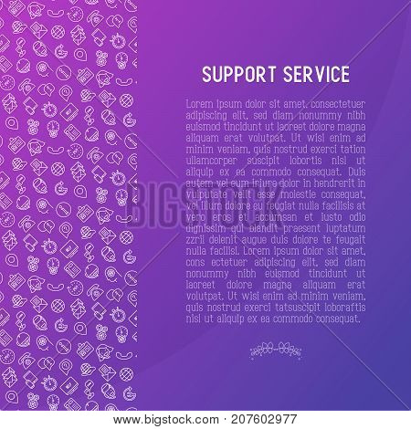 Support service concept with thin line call center or customer service icons. Vector illustration for banner, web page of support center with place for text.