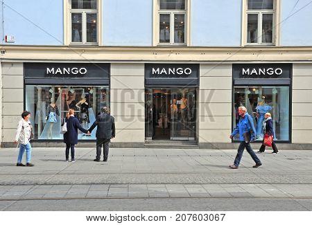 GRAZ AUSTRIA - APRIL 15: Undefined people in the shopping street in Graz Austria on April 15 2017.