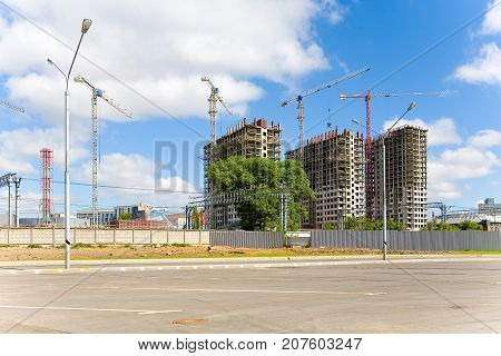Construction of a new residential complex on the territory of the former ZIL plant. Moscow Russia.