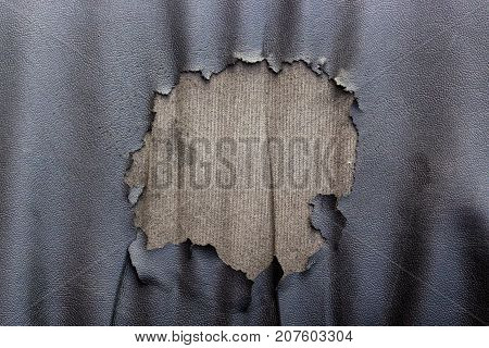 Abstract background of torn old leather sofa. Close up of lack old leather seat for pattern.