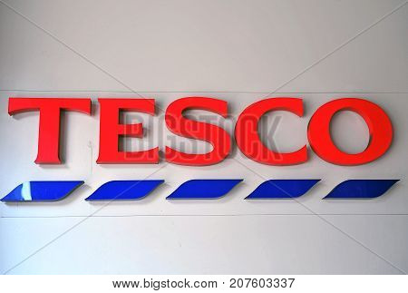 BUDAPEST - MAY 27: Logotype of Tesco supermarket in Budapest city on May 27 2016. Tesco is the largest grocery stores chain in UK.
