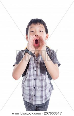 Young asian schoolboy shouting isolated over white background