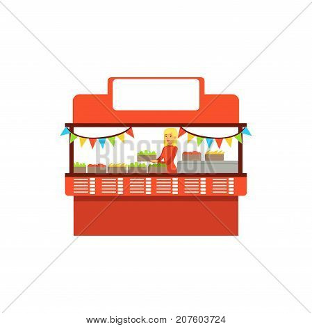 Detailed creative flat street food cart. Outdoor cafe with fresh goods. Takeaway restaurant. Urban kiosk. Smiling girl seller, merchant, shopkeeper, vendor character. Vector illustration isolated.