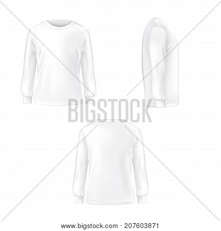 Set of vector illustration of a white T-shirt with long sleeves front, side and back view isolated on white background.