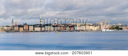 STOCKHOLM, SWEDEN - SEPTEMBER 10: Panorama of Gamla Stan on September 10, 2017 in Stockholm, Sweden. The town dates back to 13th Century.