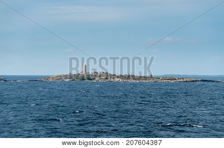 Small rockly islet in the Baltic sea leaving Stockholm in Sweden