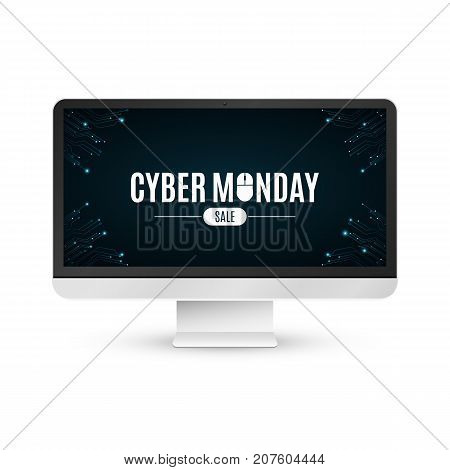 Modern LCD monitor on a white background with an inscription cyber Monday sale. Computer circuit board. Isolated on white background. Computer mouse. Vector illustration