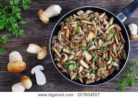 Fried Boletus Mushrooms In Frying Pan