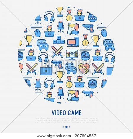 Video game concept in circle with thin line icons: gamer, computer games, pc, headset, mouse, game controller. Modern vector illustration for banner, web page, print media.