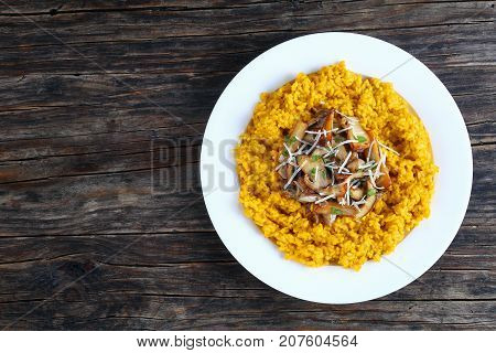 Creamy Risotto Topped With Fried Porcini