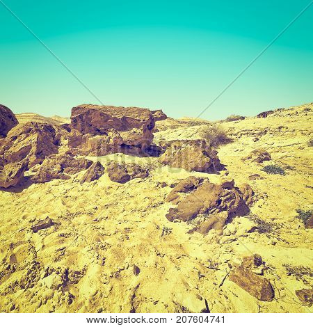Rocky Hills of the Negev Desert in Israel Instagram Effcet