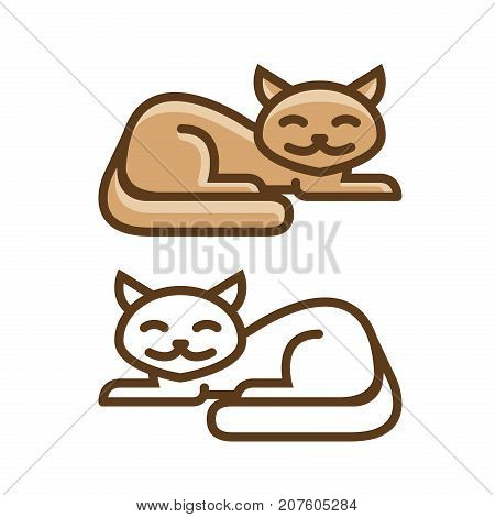 Cat, kitty icon or symbol. Pet shop logo. Vector illustration isolated on white background
