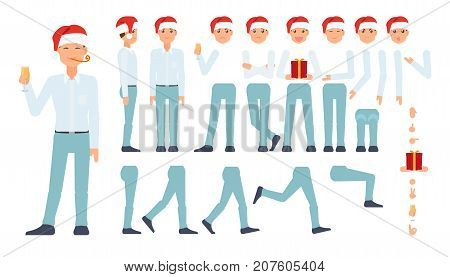 vector flat cartoon business man celebrating christmas, new year holidays creation set. Full lenght different views, emotions poses. Present gift box hat. Isolated illustration on a white background